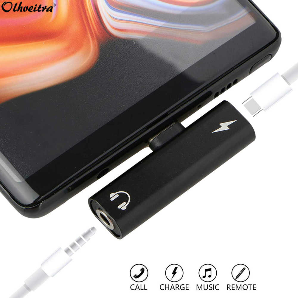 Olhveitra Typec To 3.5mm Headphone Audio Jack Adapter for Xiaomi mi 9 Samsung S10+ S10 Plus Splitter Type-c Aux Charge Connector