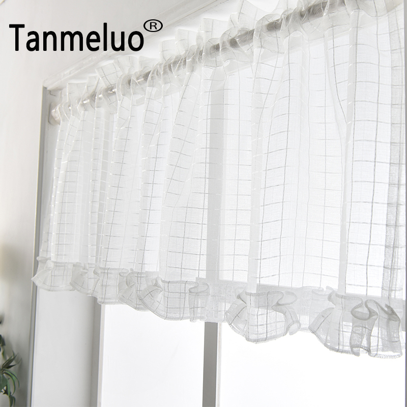 Tulle Short Curtain For Kitchen Coffee Curtain Home Decorations Christmas White Plaid Small Kitchen Curtains 2018 Curtains For Small Kitchen Curtainscurtains For Kitchen Aliexpress