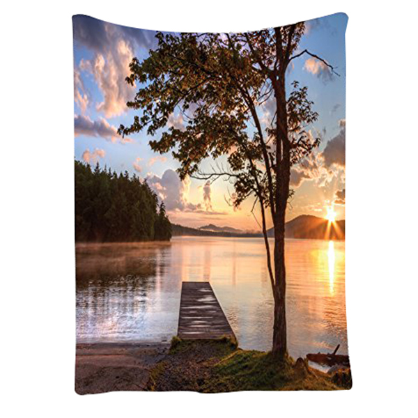 Wooden Bridge Decor Collection, Shore of Seventh Lake Tree Sunbeam Sunset Reflection View Picture Wall Hanging Tapestry