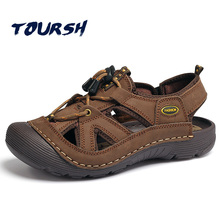 TOURSH Genuine Leather Outdoor Sandals Shoes Waterproof Summer Mens Walking Trekking Beach Men Size10