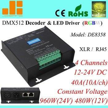 Livraison gratuite 12 V 24 V RGBW DMX décodeur LED de contrôle, adresse dipswitch, 4 canaux/12-24 V pn: DE8358