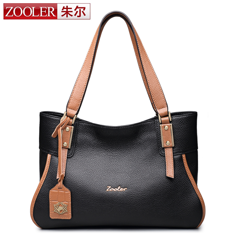 ZOOLER 2016 fashion women leather bags luxury genuine leather bag designer 100% cowhide shoulder bag bolsa feminina#8123 luxury genuine leather bag fashion brand designer women handbag cowhide leather shoulder composite bag casual totes
