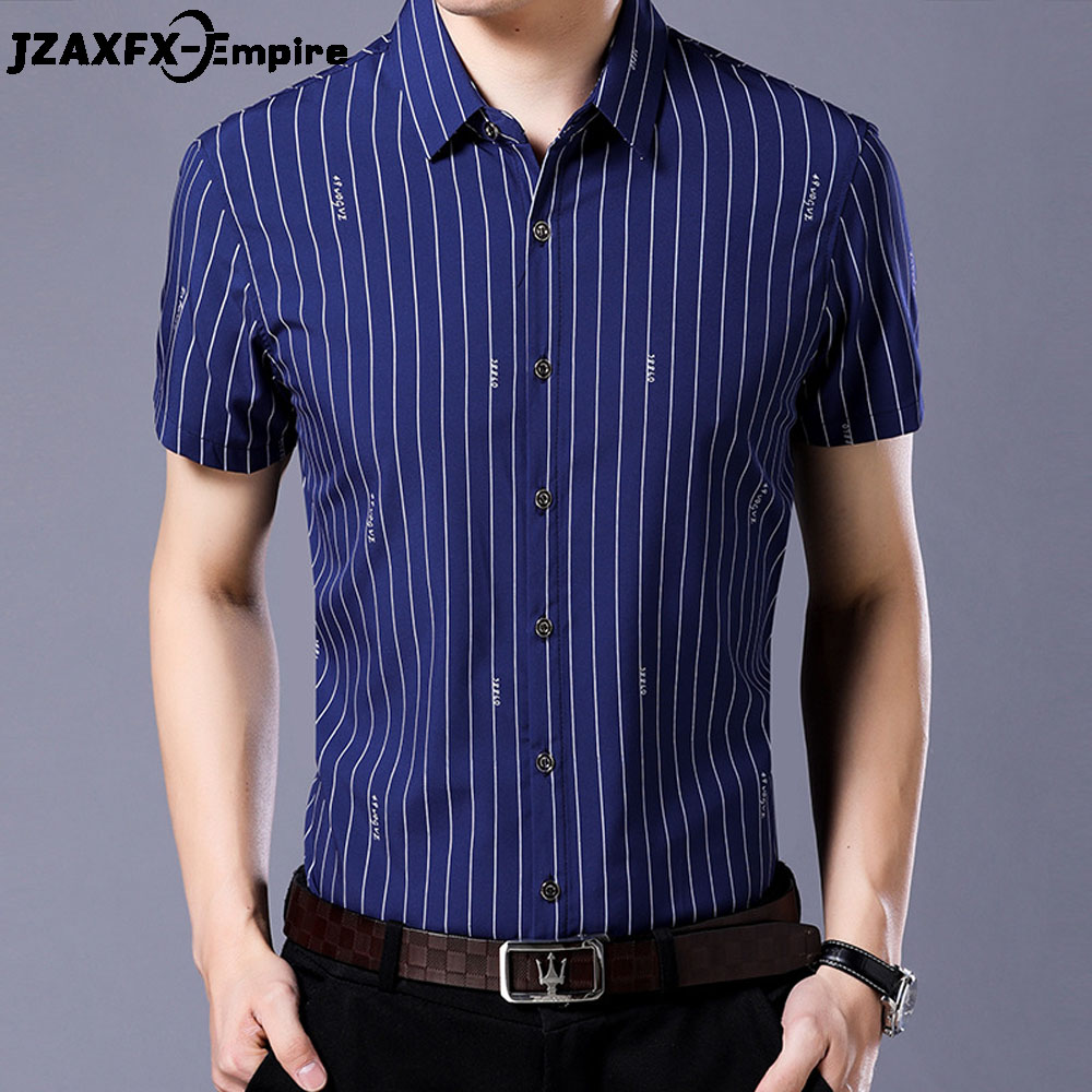 2018 Summer Striped Short Sleeve Shirt Men Dress Shirts Turn Down Collar Element Slim Fit Shirts Men Social Shirt