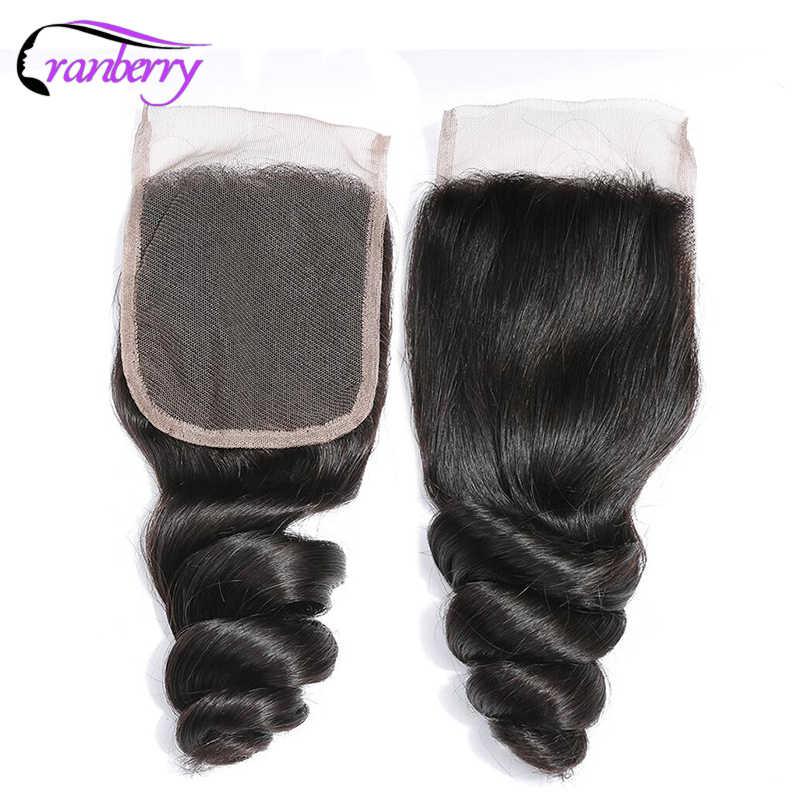 Paquetes de pelo de arándano onda suelta con cierre cabello humano no Remy paquetes de cabello humano peruano con cierre