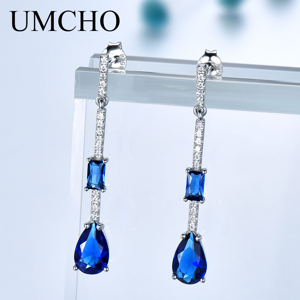 UMCHO Pure 925 Sterling Silver Drop Earrings For Women Blue Sapphire Earrings Gemstone Wedding Engagement Party Jewelry