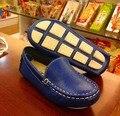 Moda 19 ~ 30 Crianças Sapatos para meninos sapatos de couro genuíno mocassins meninas do bebê crianças criança sapatos