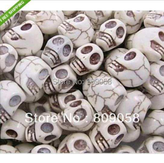90 pçs/lote Fantástico Branco Esculpido Crânios Howlite Pedra Beads Fit Jóias DIY 12*12*10mm Apto Para Fazer jóias