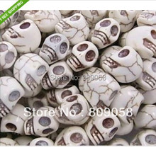 90pcs/lot Fantastic White Carved Howlite Skulls Turquoise Beads Fit Jewelry DIY 12*12*10mm For Making