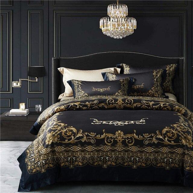 1000TC Egyptian Cotton Royal Luxury Bedding set blue King Queen Size Embroidery Bed set Duvet Cover Bedsheet set parrure de lit