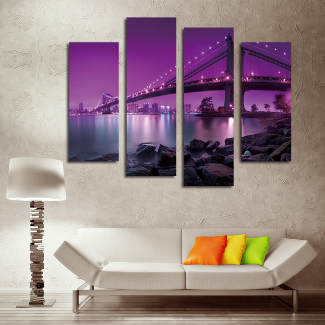 Purple Cable Bridge Wall Art Cuadros Painting 4 Panels/sets HD Canvas Painting Hot Sell & Purple Cable Bridge Wall Art Cuadros Painting 4 Panels/sets HD ...