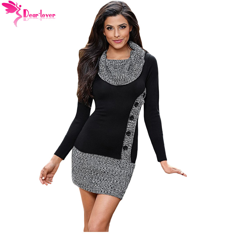 Dear Lover Knitted Women Autumn Winter Black Gray Button Front Long Sleeve Bow Neck Sweater Mini