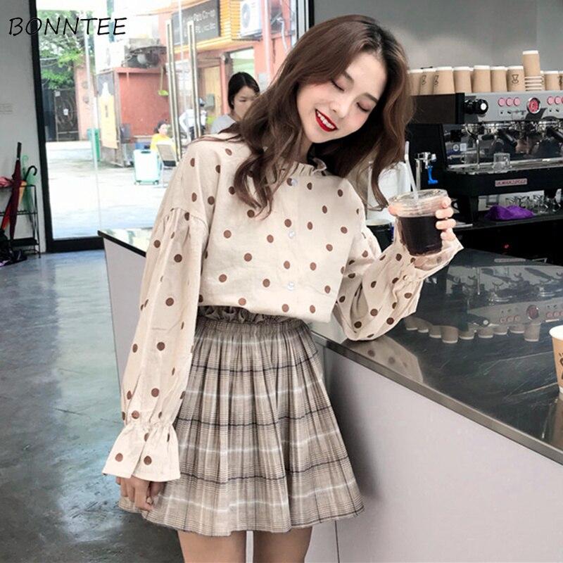 Shirts Women 2020 New All-match School Students Sweet Polka Dot Womens Shirt Korean Style Lantern Sleeve Leisure Lovely Girl