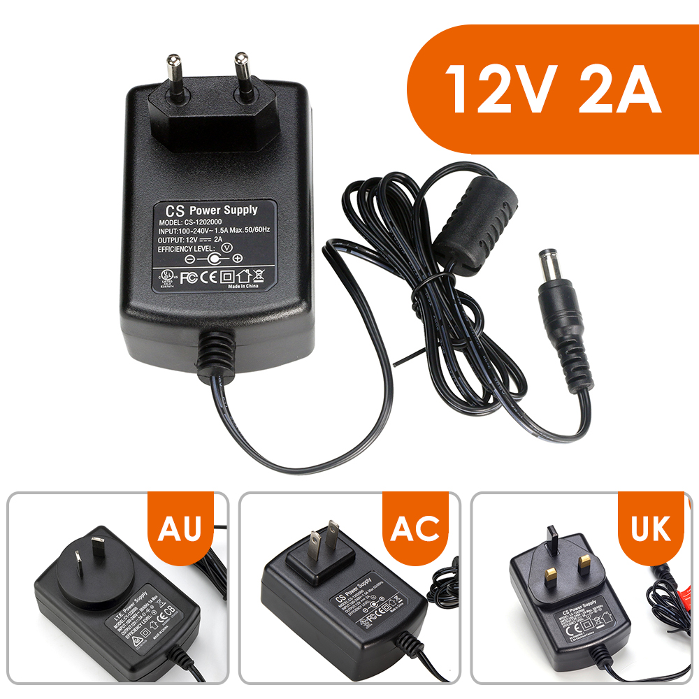 ZOSI DC 12V 2A Power Supply Adaptor 12V Security Professional Converter EU / US / UK / AU Adapter For CCTV Camera CCTV System