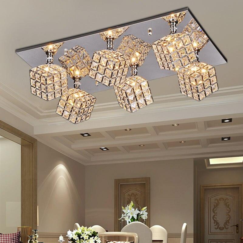 Cristal de lujo del cubo de la sala de techo luces oblong - Lamparas para comedor techo ...