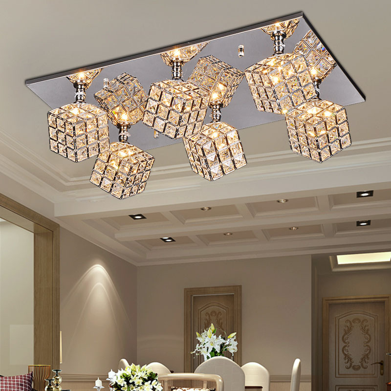 Luxury Crystal Cube Living Room Ceiling Lights Oblong Top Bar Counter Ceiling Lamp Dining Room Restaurant Ceiling Fixtures
