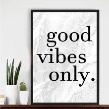Good Vibes Only Canvas Painting Black and White Quotes Wall Art Posters Print Nursery Pictures for Living Room Home Decor