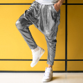 bling harem pants men 2016 new mens long trousers hip hop pants loose pantalones homme joggers men silver color