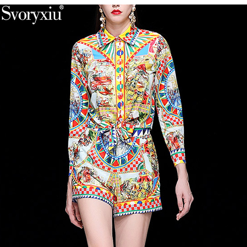 Svoryxiu Fashion Runway Summer Shorts Two Piece Set Women's Vintage Printed Long Sleeve Blouse + Shorts Casual Sets Female