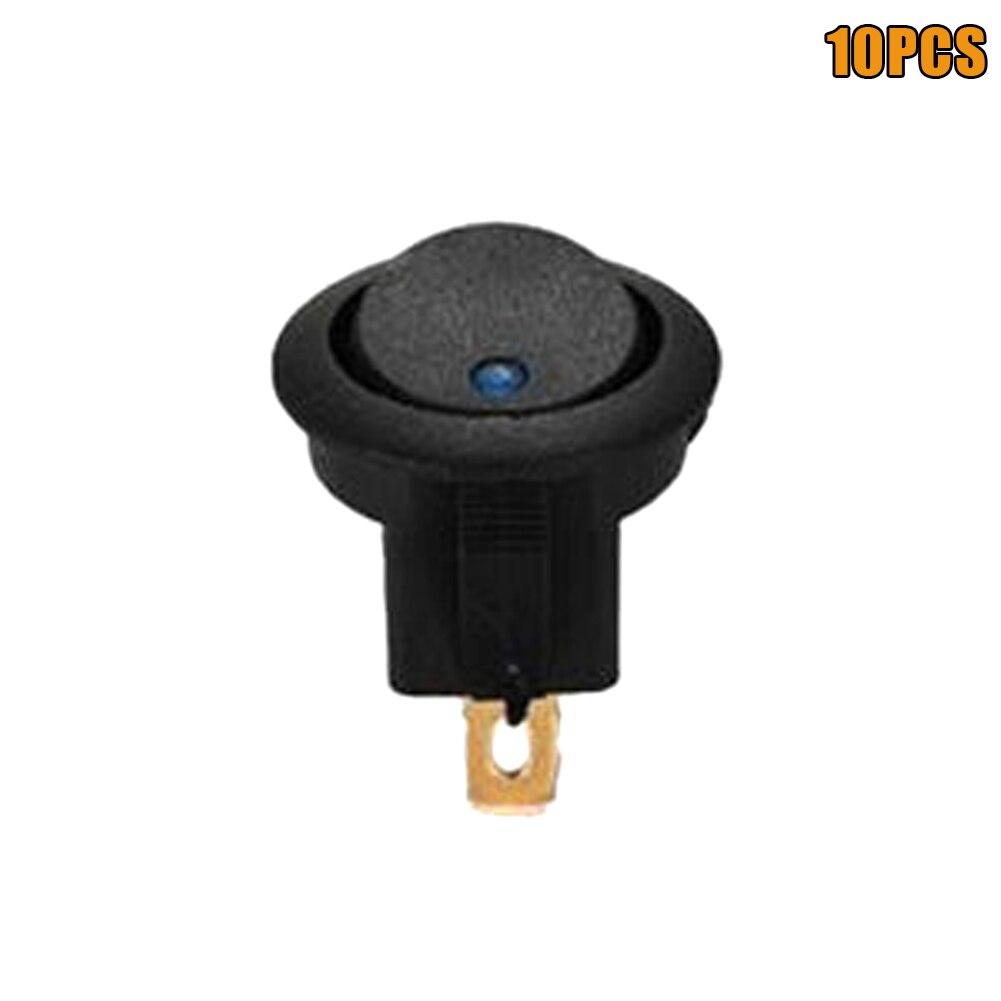 10 x Rocker 12V ON//OFF Switch Car LED Round Boat Dot Toggle Blue Light Good Item