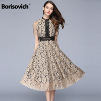 Borisovich New 2018 Spring Summer Fashion Patchwork Lace Short Sleeve Elegant Women Evening Party Dresses Hot Sale Vestido M130