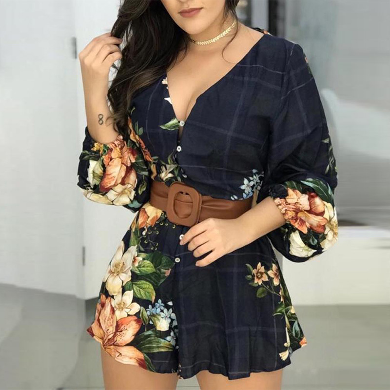 Floral Print Lantern Sleeve Backless Rompers Female Summer V-neck Playsuit Casual One Piece Overalls   Jumpsuit   for Women