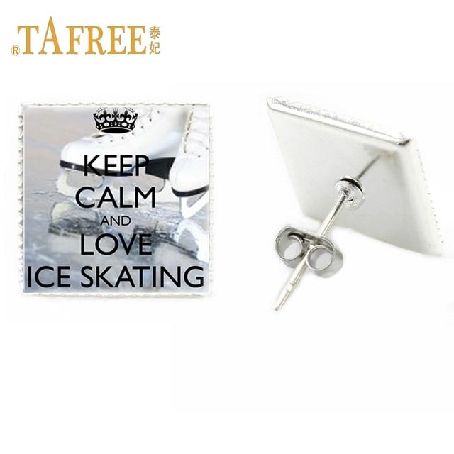 Tafree Charm Fashion Handmade Gl Gem Women Stud Earrings Keep Calm And Love Ice Skating