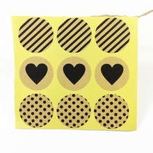 90 Pcs/lot Stickers Fashion Black Heart Dots Twill Round Kraft Paper Seal Sticker Handmade Products Gift Scrapbooking