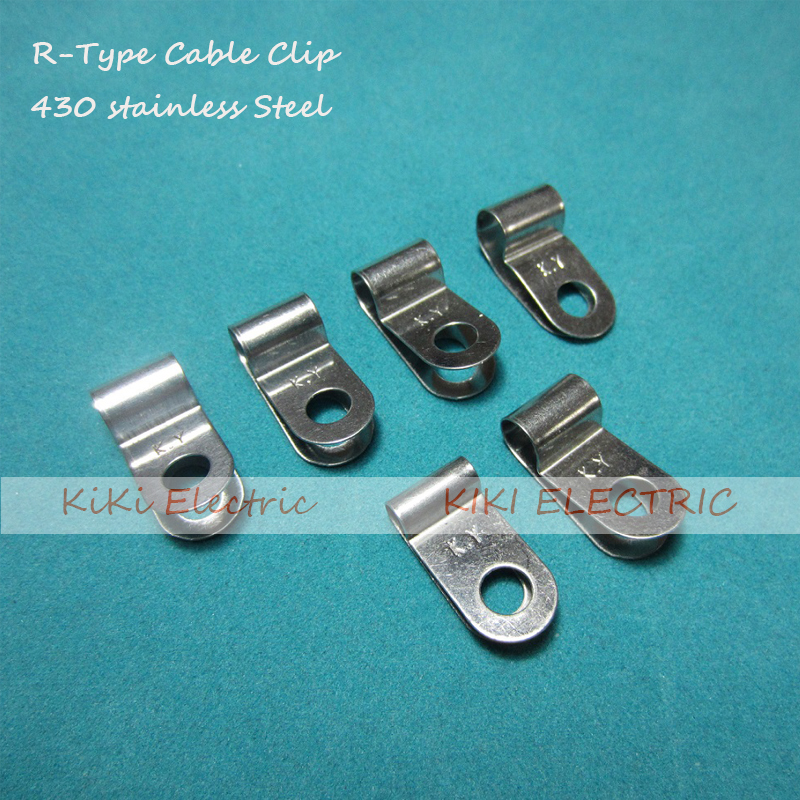 100pcs/lot R type Stainless Steel Cable Clip/Wire Holder  6.4mm Matel Clamp