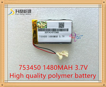 1pcs 3.7V,1480mAH,[753450] ( polymer lithium ion / Li-ion battery )for model aircraft,GPS,mp3,mp4,cell phone,speaker,bluetooth