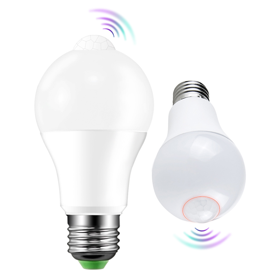LED PIR Motion Sensor Lamp E27 220V  8W 15W Automatic ON/OFF LED Bulb Light Sensitive Human Body Movement Detector Lights A1