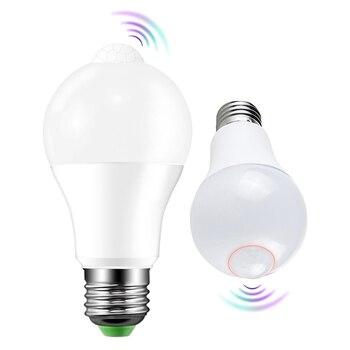 LED PIR Motion Sensor Lamp E27 220V 8W 15W Automatic ON/OFF LED Bulb Light Sensitive Human Body Movement Detector Lights A1 фото