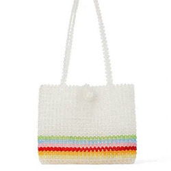 Iridescent Striped Acrylic Beads Bag Hollow Out Handmade Square Tote Bag for Women
