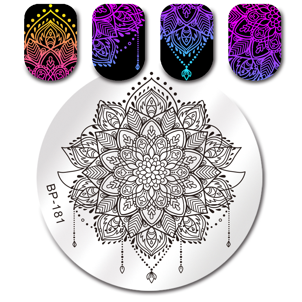 Geometric Reverse Stamping Nail Art Born Pretty Review: Round Nail Stamping Plate Fruit Flower Geometric Feather