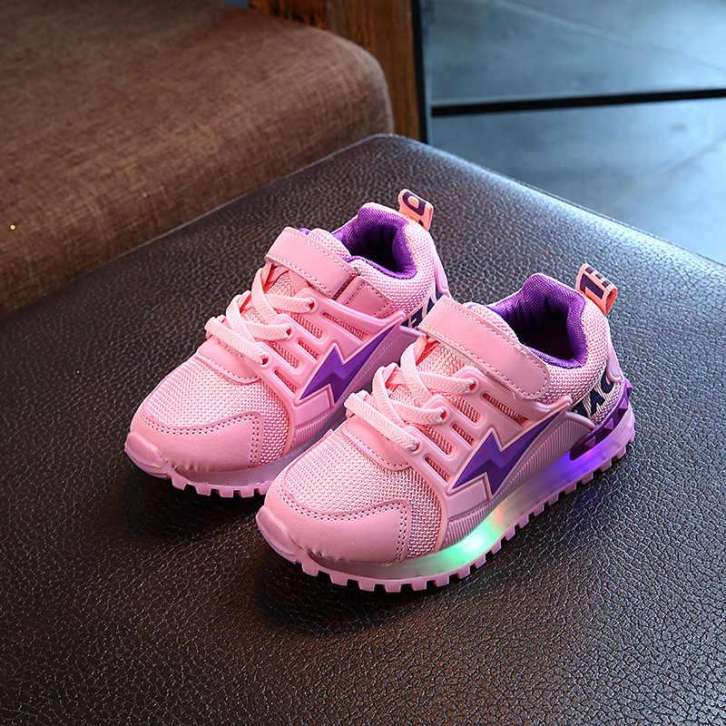 אופנה לפעוטות בייבי בנות בני LED אור זוהר נעלי רך בלעדי נעל ספורט נעלי הליכה נעליים