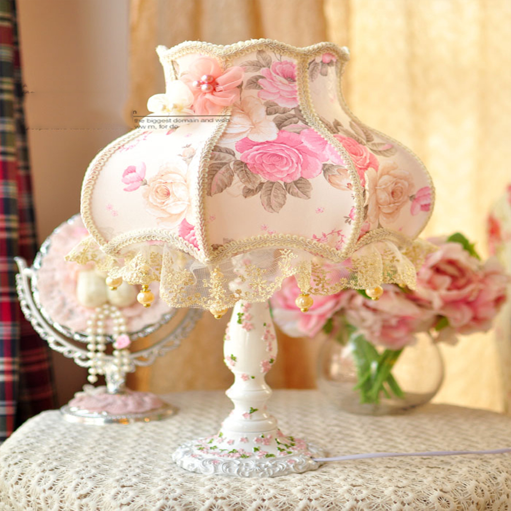 Fabric table lamp desktop lamp bedroom bedside lamp princess lace idyllic decorated gift emilio pucci платье до колена