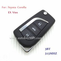 3 Button Remote Control Key 315MHZ For Toyota Corolla EX Vios With Uncut Blade car key