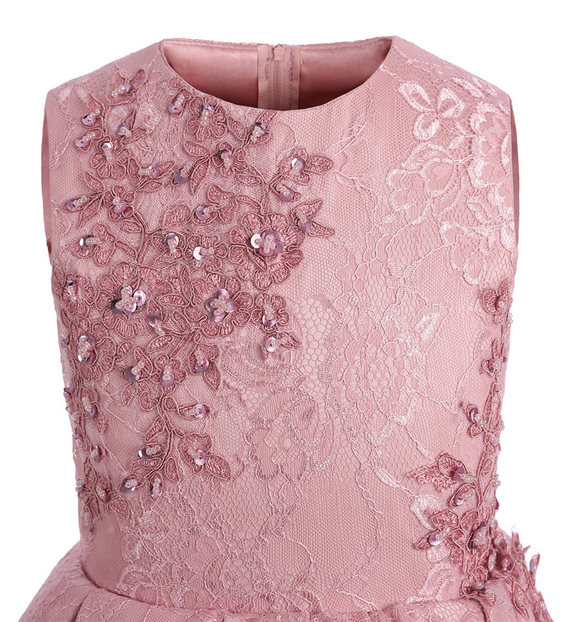 Enfants mode robe fille princesse fleur mariage rose robe enfants fille effectuer Costume Catwalk fête d'anniversaire mignon robe - 5