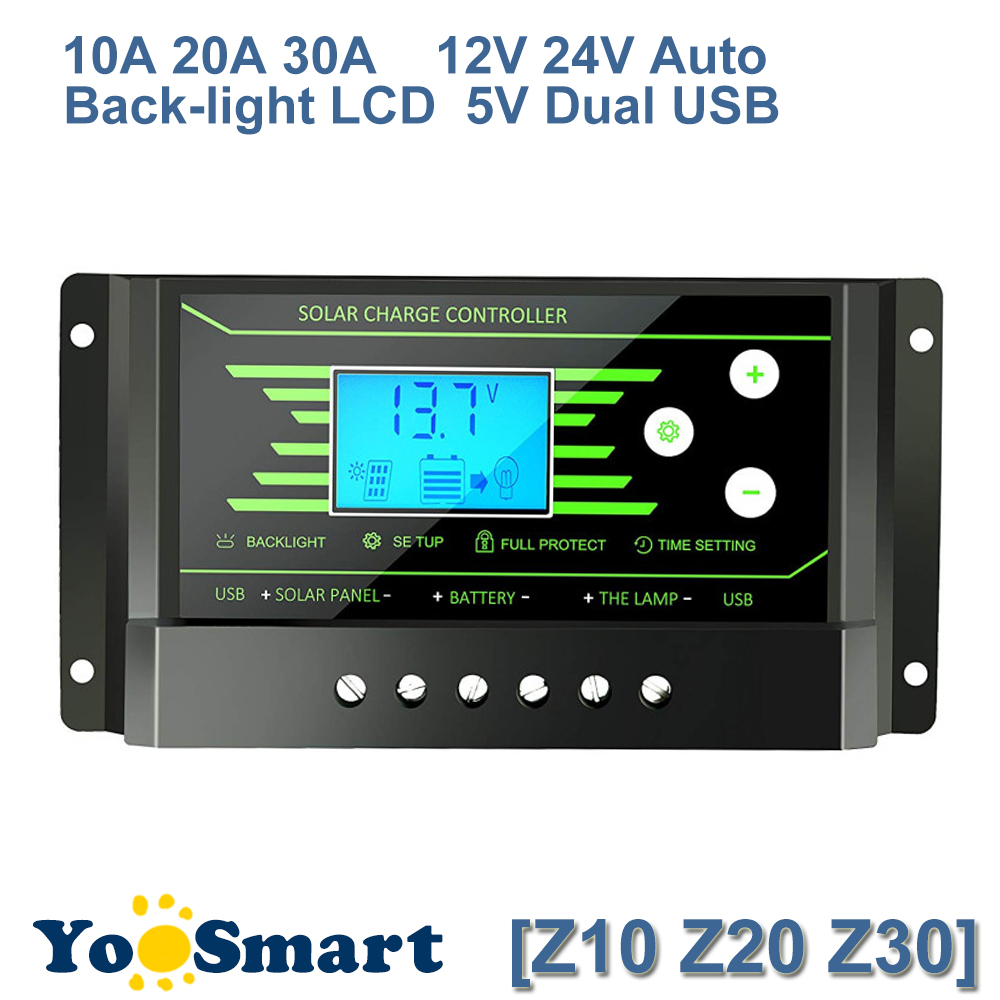 PWM 30A 20A 10A Solar Charge Controller 12V 24V Auto with Back-light LCD Display Dual USB 5V Solar Regulator Charger Z10 Z20 Z30 boguang 20a 12v 24v solar controller mppt system kit solar panel battery light charger led display with dual usb 5v regulator