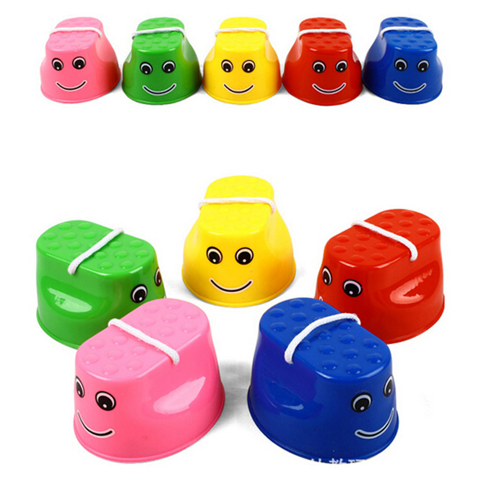 Outdoor Plastic Balance Training Smile Face Jumping Stilts Shoes For Children Walker Toy Feet Sports