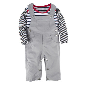 2018 Fashion Infant baby boy clothing set Kid overalls+Baby Romper+Cap 3pcs baby suit Newborn baby boy clothes