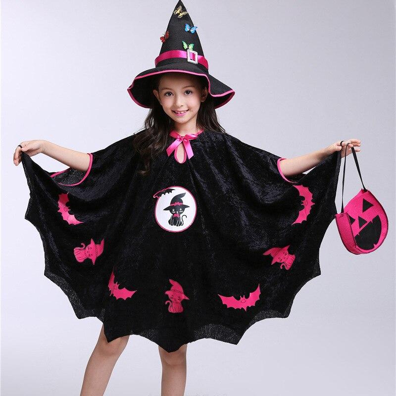 Kids Girls Halloween Clothes Costume Dress Party Cloak+Hat+Pumpkin Bag  Outfit children's Halloween gift