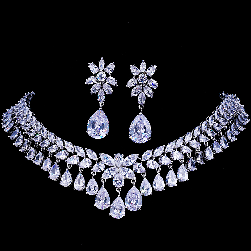 Emmaya Luxury Cubic Zirconia Bridal Jewelry Sets Tear Drop Crystal Rhinestone Party Wedding Jewelry Necklace Sets