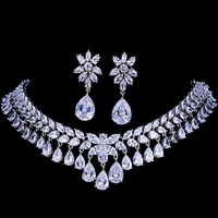 Emmaya Luxury Cubic Zirconia Bridal Jewelry Sets Tear Drop Crystal Rhinestone Party Wedding Jewelry Necklace Sets