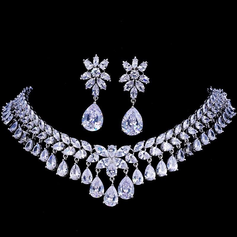 Emmaya Zircon Cubique De Luxe Ensembles De Bijoux De Mariée Larme Cristal Strass Mariage Bijoux Collier Ensembles