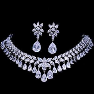 Image 1 - Emmaya יוקרה מעוקב Zirconia סטי תכשיטי כלה סטי שרשרת תכשיטי מסיבת חתונה יהלומים מלאכותיים גביש דמעת