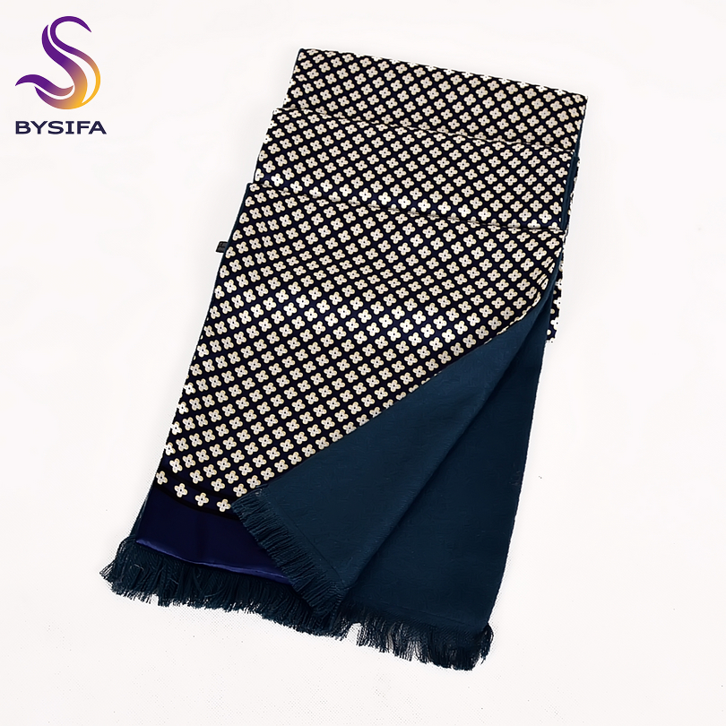 Reliable bysifa Men Big Plaid Silk Scarf Autumn Winter Male Double Layers Pure Silk Long Scarves Cravat Navy Blue And Red 160*26cm