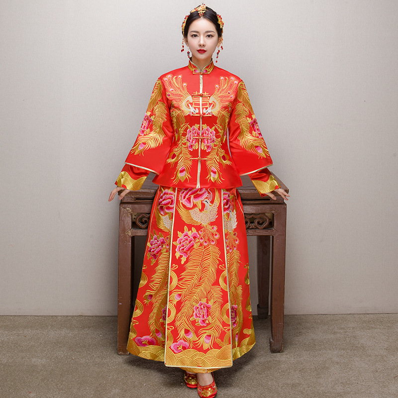 Asian Bride Wedding Dress Noble Satin Phoenix Qipao Chinese Women Exquisite Embroidery C ...
