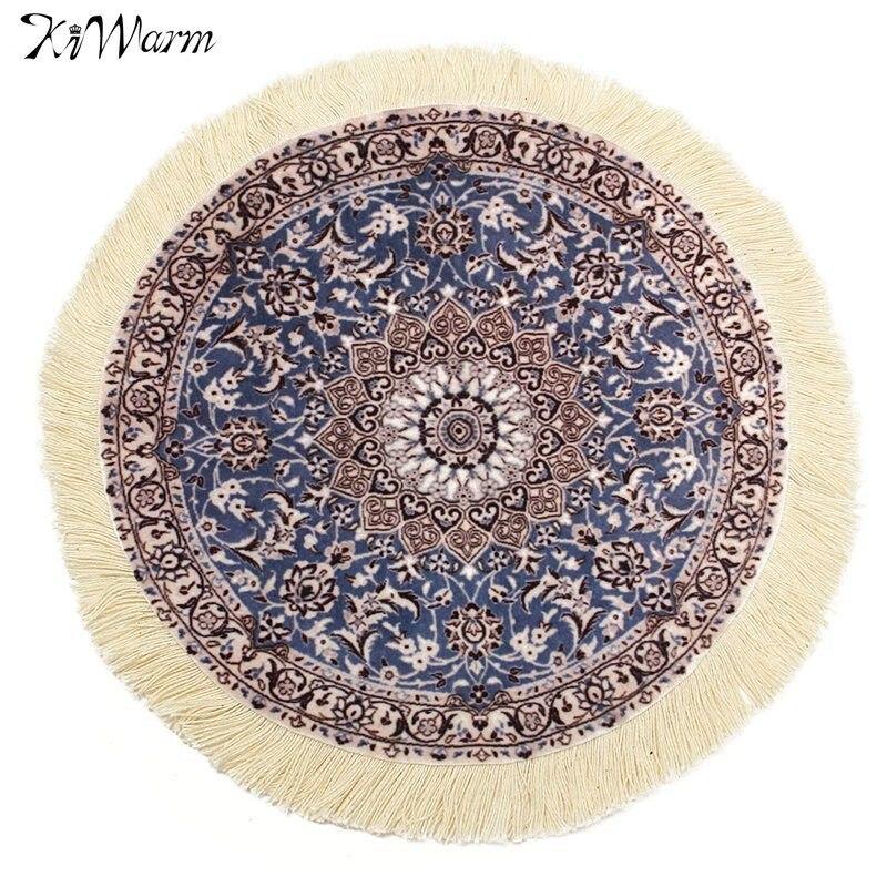 Kiwarm Mode Katoen Rubber Ronde Perzisch Tapijt Stijlvolle Mat Muismat Mousemat Tapijt Kantoor Craft Voor Home Ornament 23 Cm/9'' Grote Rassen