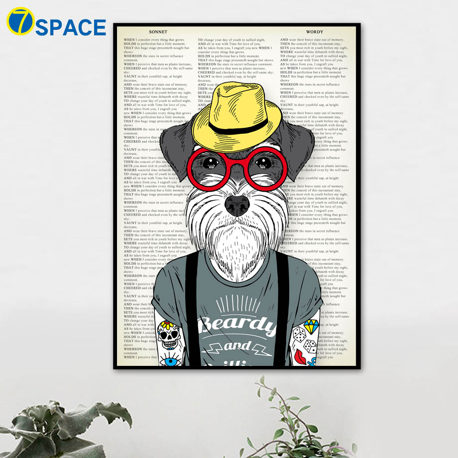 7-Space Dog kunst aan de muur Canvas schilderij Vintage posters en - Huisdecoratie