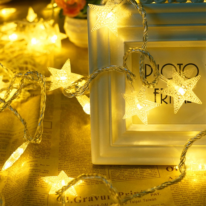 BTgeuse Star LED String Fairy String Night Lights For Christmas Party DIY Decoration Lamp 2M 3M 4M 10M Battery Powered